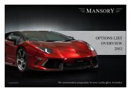 OPTIONS LIST OVERVIEW 2012 - Mansory