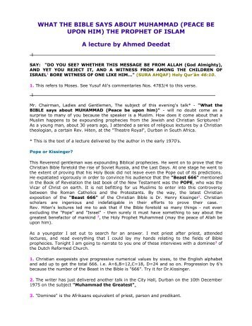 WHAT THE BIBLE SAYS ABOUT MUHAMMAD ... - Kalamullah.Com