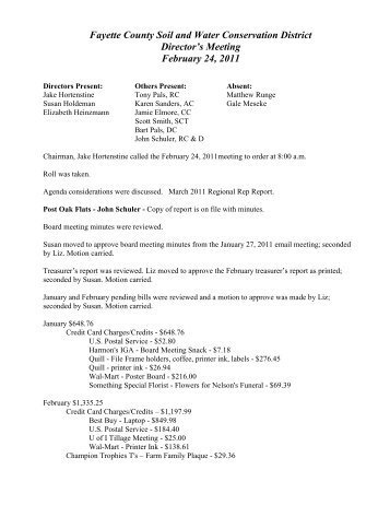 February 24, 2011 Meeting Minutes - Fayette County Soil & Water ...
