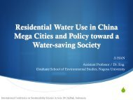 Household Water Use in Mega Cities of China