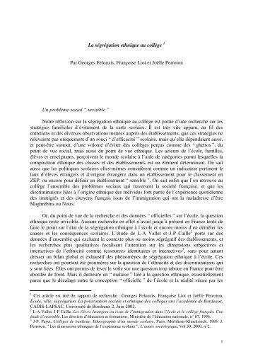La ségrégation ethnique au collège 1 Par Georges Felouzis ...
