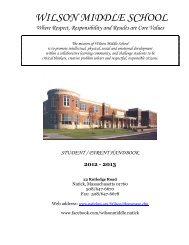WILSON MIDDLE SCHOOL - Natick Public Schools