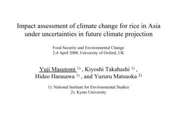 Impact assessment of climate change for paddy rice productivity in ...