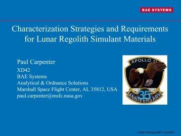 Paul Carpenter - In Situ Resource Utilization (ISRU) - NASA