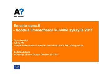 Ilmasto-opas.fi  koottua ilmastotietoa kunnille syksyllä ... - BaltCICA