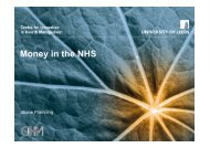 Money in the NHS