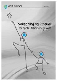 Se veiledning og kriterier for opptak til ... - Lenvik kommune
