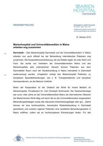 PM 19.10.12 - Kooperation von Marienhospital und Uniklinik