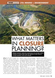Mine Closure Planning - WME magazine