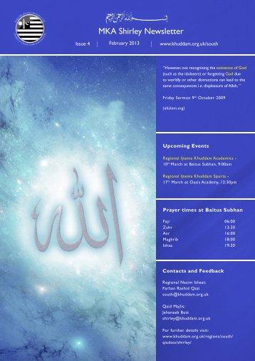 newsletter Shirley Feb 13.indd - Majlis Khuddamul Ahmadiyya UK