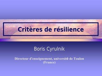 Critères de résilience - CRIR