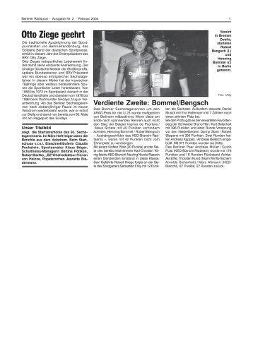 Otto Ziege geehrt - Berliner Radsport Verband e.V.