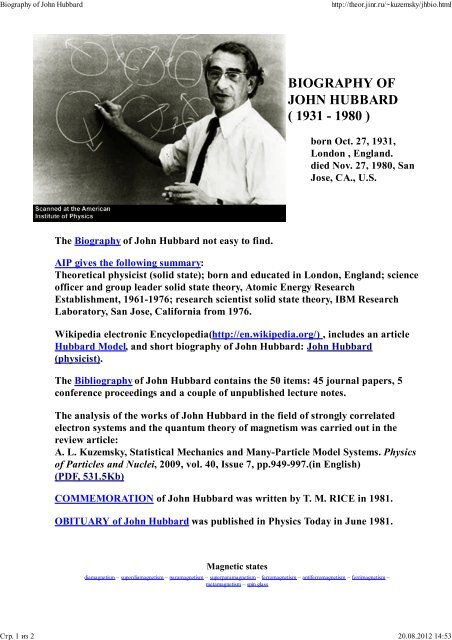 Hubbard_John - Bogoliubov Laboratory of Theoretical Physics - JINR