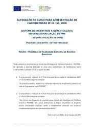 Alteração ao Aviso para a Apresentação de Candidaturas n ... - QREN