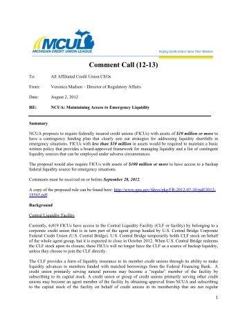 12-CC-13 - Michigan Credit Union League