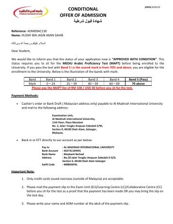 conditional offer of admission - Al-Madinah International University