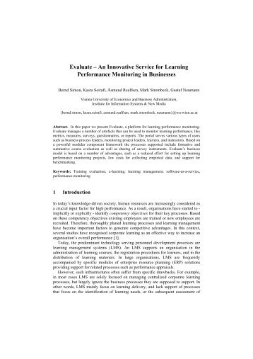 Evaluate – An Innovative Service for Learning ... - ResearchGate