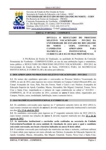 EDITAL Nº 007 2012 - RESULTADO DO PSV 2012 - UERN