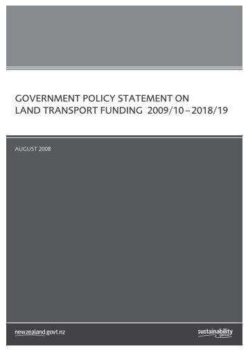 government policy statement on land transport funding 2009/10 ...