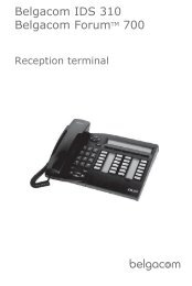 Manual Forum IDS 310 Hotel Operator - support - Belgacom