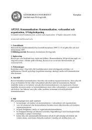 AP2315, Kommunikation - Institutionen för filosofi, lingvistik och ...