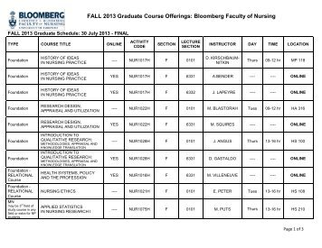 fall 2013 – final - Lawrence S. Bloomberg Faculty of Nursing