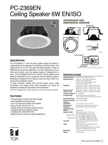 PC-2369EN Ceiling Speaker 6W EN/ISO - Eltek