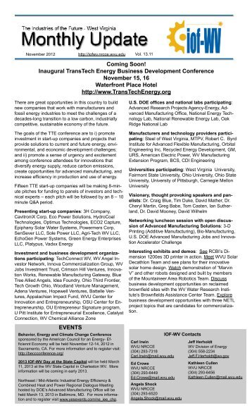 IOF-WV Monthly Update - Vol. 13.11, November 2012