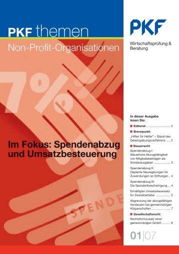 Ausgabe 01|07 Im Fokus: Spendenabzug und ... - PKF