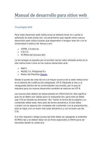 Manual de desarrollo para sitios web - Universidad Católica de ...