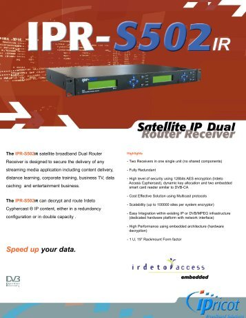 IPR-S502IR Satellite IP Dual Router Receiver - TBC Integration