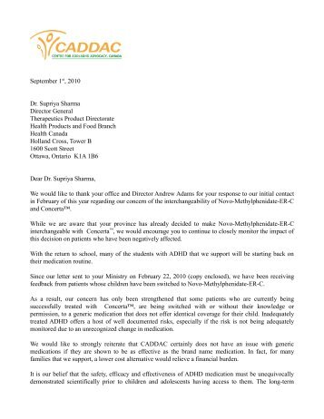 follow up letter from caddac to dr supriya sharma health canada - Follow Up Letter