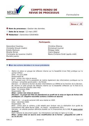 COMPTE-RENDU DE REVUE DE PROCESSUS - Inffolor