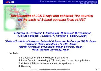 Development of LCS X-rays and coherent THz sources on the basis ...