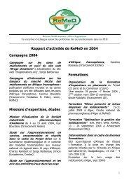 Rapport d'activités de ReMeD en 2004 Campagne 2004 Missions d ...