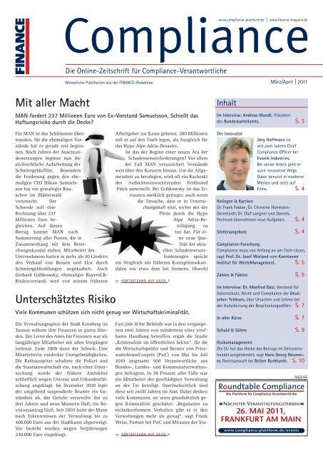 (PDF)   Ausgabe März/April 2011 - Compliance