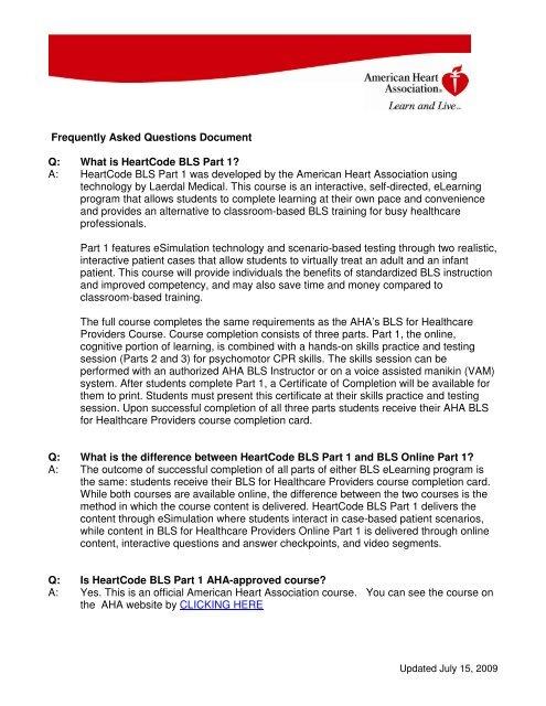 HeartCode BLS FAQ