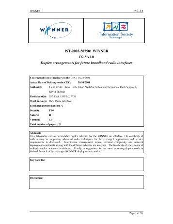 IST-2003-507581 WINNER D2.5 v1.0 Duplex ... - Celtic-Plus