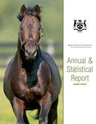 ORC Annual And Statistical Report - Ontario Racing Commission