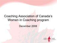 Women in Coaching - Coaching Association of Canada