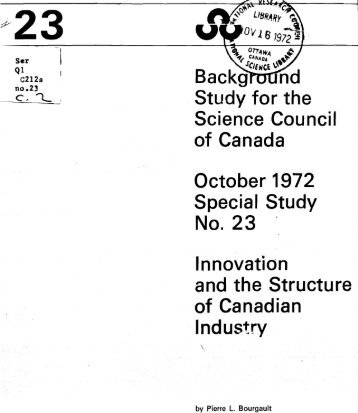 Innovation and the Structure of Canadian Industry - ArtSites