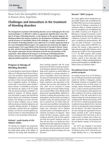 Challenges and innovations in the treatment of bleeding disorders