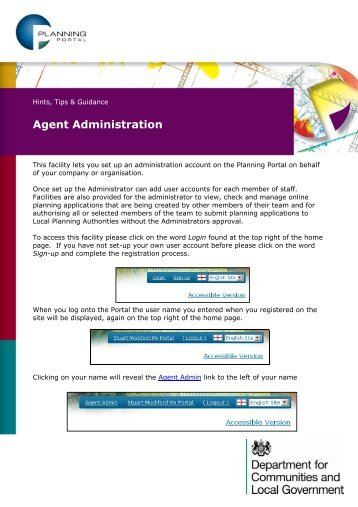 Agent Administration - Planning Portal