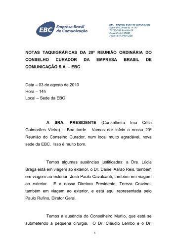 Nota Taquigráfica da 20ª Reunião do Conselho Curador
