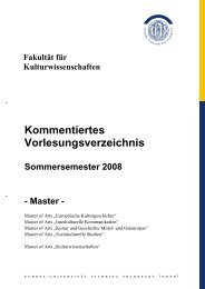 Master - Faculty of Social and Cultural Sciences - Europa-Universität
