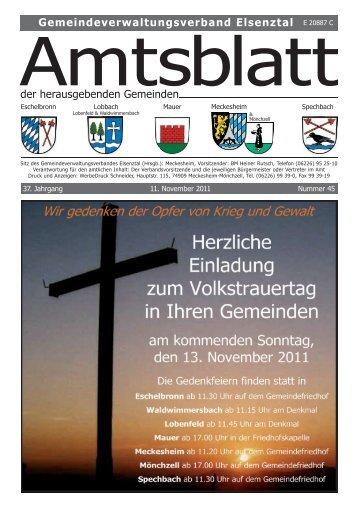Gemeindeverwaltungsverband Elsenztal der ... - Gemeinde Mauer