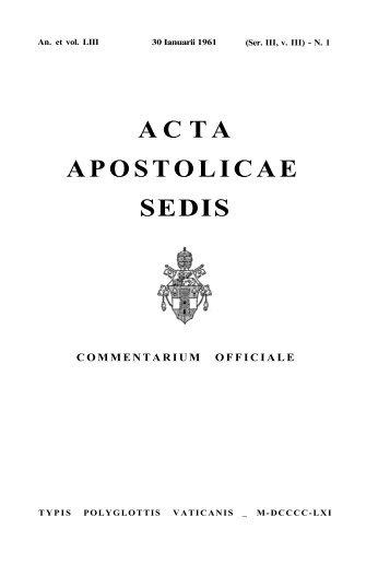 A C T A APOSTOLICAE SEDIS - Libr@rsi