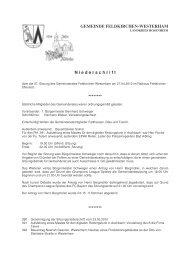 GEMEINDE FELDKIRCHEN-WESTERHAM N iederschrift - Pro Bürger