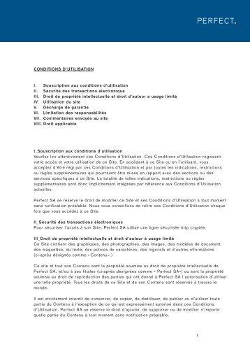 CONDITIONS D'UTILISATION I. Souscription aux conditions d ...