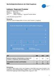 Indikator B1 Z1 regionale Produkte - Nachhaltigkeit - Stadt Augsburg